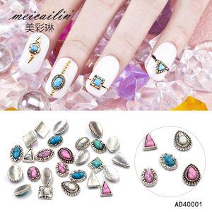Meicailin 10pcs  lot 3D Glitter Nail Art Sticker Retro oval round Alloy Nail Decoration