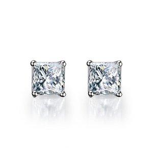 1CT / Adet Hakiki Gümüş 925 Küpe Damızlık Prenses Sentetik Diamonds Damızlık Küpe Solitaire Beyaz Altın Renk Takı