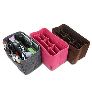 Wholikes Filz Stoffeinsatz Tasche Veranstalter Make-up Handtasche Speicherorganisator Multifunktionale Reiseeinsatz Handtasche Tragbare Kosmetiktaschen