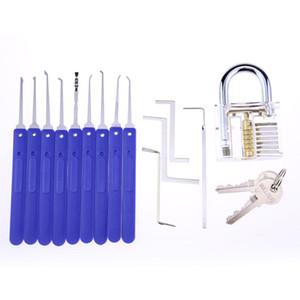 NOVO Modelo Desbloqueio de ferramentas / serralheiro lockpicking crochetagem 9 pcs Lock Pick Set com 5 pcs chaves + Acrílico Transparente Prática de Bloqueio BK043