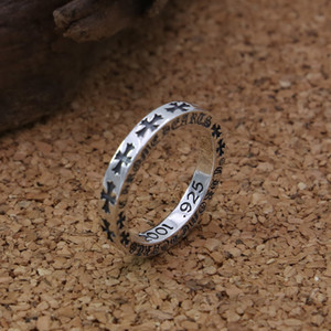 Brand new 925 prata desenhador feitos à mão jóias vintage antigo clássico prata oxidada presente anéis banda norte-americana para as mulheres