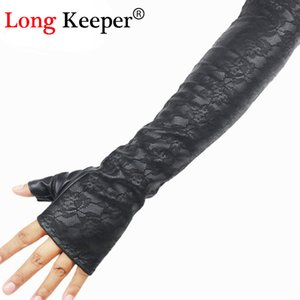 Long Keeper Retro Sexy Weibliche Lederhandschuhe Halbfinger Ellenbogen Lange Fingerlose Handschuhe Spitze Ärmel Winter Schwarz Handschuh Luvas M203