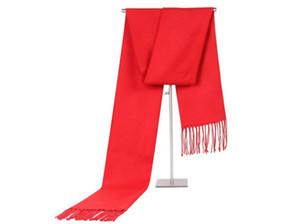 Sonbahar Kış Eşarp Wrap Erkek Kadın Uzun Püsküller Eşarplar Sıcak Festivali Hediye Saf Renk moda tutun