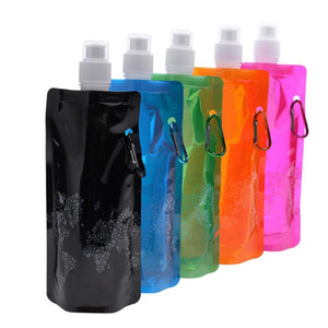 Portable ultraligero plegable bolsa de agua de silicona bolsa de botella de agua fuentes de deporte al aire libre senderismo camping suave bolsa de agua 500 ml