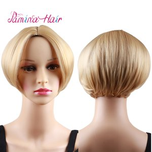 PAMINA Short Bob Blonde Hair Wigs Heat Resistant Straight Syntheyic Hair Wigs Natural Straight None Lace Wig Beautiful Looking Wigs