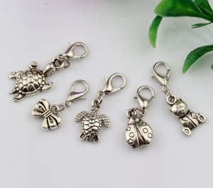 Hot ! 15 pcs Antique silver Alloy Mixed Cute Animal Charm With lobster clasp Fit Charm Bracelets DIY Jewelry (nm220)