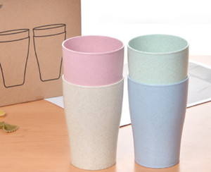 4PCS PACK Multicolor Biodegradable Unbreakable Wheat Straw Water Cup Mug Tumblers for Coffee, Tea, Water, Milk, Juice