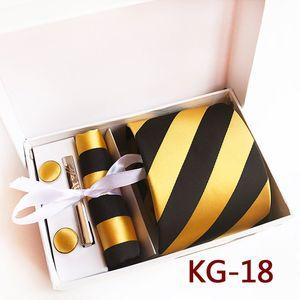 8cm Designer's Men Formal Ties Set Gold Yellow with Black Stripes Necktie Handkerchief Cufflinks Clip Sets in Gift Box