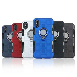 럭셔리 PC + TPU 하이브리드 2 in 1 Armor iPhone 6의 경우 뒷면 커버 7 8 Plus Phone Cases 아이폰 엑스를위한 라운드 핑거 링 스탠드 케이스