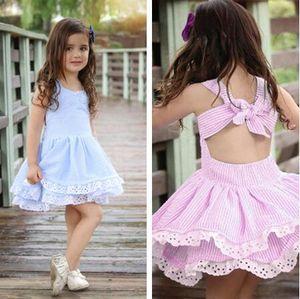 детская одежды девочки летнего платья девушка детей голубого полосатый Backless Bowknot платье принцесса Дети мода цветок шнурок хлопок Frocks
