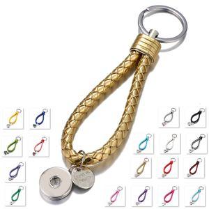 Venda quente Top Popular Moda Weave PU Couro Chaveiro 18mm Snap Button Keychain Jóias Para Mulheres Dos Homens 18 Cores chave anéis