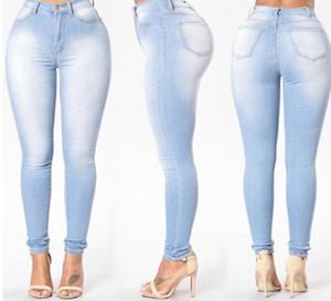 Women Clothes Washed Jeans Fashion Sexy Slim Pencil Pants Long Trousers Denim Pants Zipper Fly Women Solid Color Blue Jeans