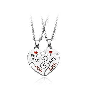 """Big Sis Lil Sis For Ever"" Collier Pendentif Coeur Rouge Sister Collier Femmes Famille Best Friends Bijoux"