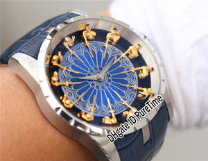 Meilleure version 45mm Excalibur 45 RDDBEX0398 18K or Chevaliers de la Table ronde en émail bleu Cadran Miyota automatique Mens Watch cuir