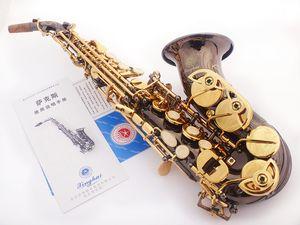 Nuovo Xinghai XSS-130G Sib Piccolo Sassofono Soprano Curvo Nero Nickel Oro Strumento Musicale B Sax Piatto Con Custodia Spedizione Gratuita