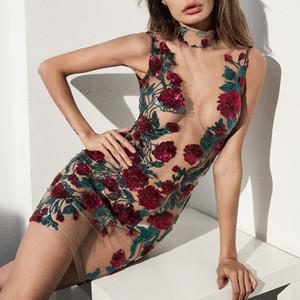 Sheer Malha Floral Design Mini Vestidos Das Mulheres Bodycon Skinny Vestido Sem Mangas Rosa Bordado Lantejoulas Vestidos See-Through