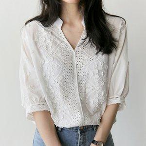 сорочка femme 2018 новая летняя мода вышитые цветочные рубашки Половина рукава белая рубашка хлопок блузка V-образным вырезом повседневная женская топы
