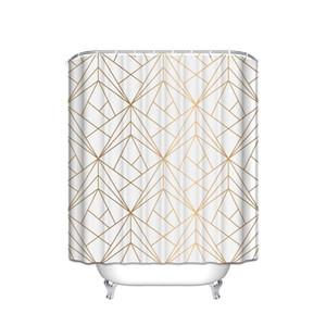Gold Line CHARMHOME personalizada geométrica poliéster tecido impermeável cortina de chuveiro do banheiro Decor Cortinas com 12 Hooks Big Size