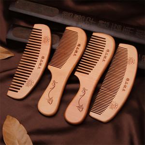 Doğal Şeftali Ahşap Tarak Dar Geniş Diş Ahşap Tarak Anti-statik Kafa Masaj Saç Bakımı Ahşap Araçları Sakal Tarak Saç Şekillendirici Aracı