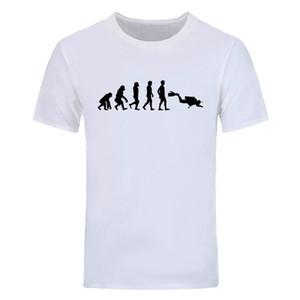 Mode Impression Scuba Diver Evolution T-shirt Hommes Drôle T-shirts Hommes Manches Courtes O-Cou Coton Hommes Tops Tees DIY-0614D