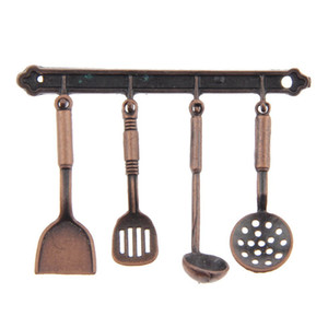 Cooking Hanging Utensils Tool 1 12 Dollhouse for Dollhouse Toys Kitchen Bronze 5PCS SET