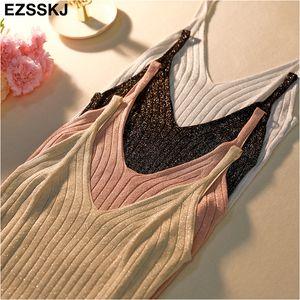 Ezsskj bling verano Glitter knit Tank Tops mujeres sexy camisola con cuello en V top brillante camiseta sin mangas camis femenino barato