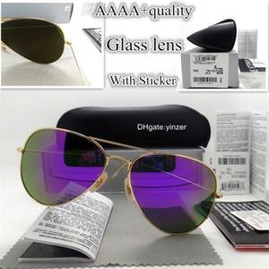 2019 Top Piloto Óculos De Sol Das Mulheres Dos Homens Lente De Vidro De Luxo 58 MM 62 MM Marca de Design Espelho Unisex Óculos Óculos de Sol Caixa de Código QR caixa