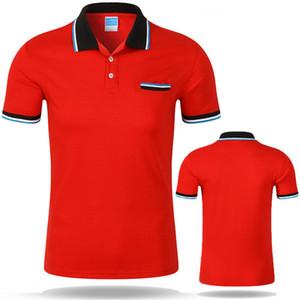 Los hombres del verano camisetas Europa RussiaTrend corta de la manera de la manga rojo púrpura raya mosaico botón solapa fina de algodón elástico ocasional camisetas Polos