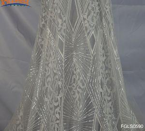 أحدث 3yards العاج الدانتيل الهندسية الترتر نسيج مطرز تول قماش فستان الزفاف حرفة النسيج الخياطة الدانتيل