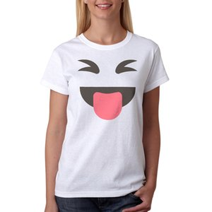 Kadın Tee Komik Yüz Emoji Görüntü kadın Beyaz T-shirt Yeni Boyutları S - Xl 2017 Kadın T Gömlek Pamuk Casual Lady Kadınlar Tees Tops