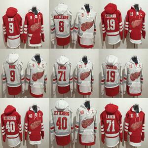 Homens Detroit Red Asas Hoodies 40 Henrik Zetterberg 71 Dylan Larkin 9 Gordie Howe 19 Steve Yzerman 8 Abdelkader Hóquei Com Capuz Suores