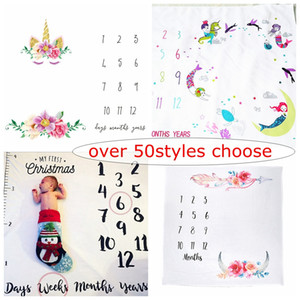 Over 50 styles choisir Unicorn cartoon INS Baby Milestone Couverture Infant Tribal Couverture Baby Shower Gift photographie fond les accessoires 100 cm