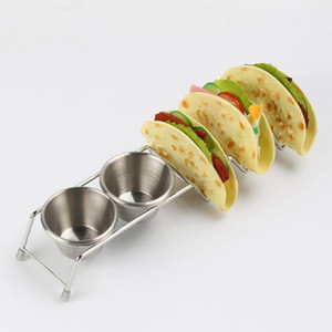 Cremagliera dell'alimento del supporto del Taco del basamento del cibo della pizza messicana dell'acciaio inossidabile con due accessori dello strumento della torta della cucina delle tazze QW7486