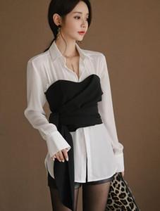 السيدات مزاجه قميص طويل الأكمام + تشكيل هيئة الخصر ملفوفة الصدر + شورت جلدية تقليدية ثلاث قطع
