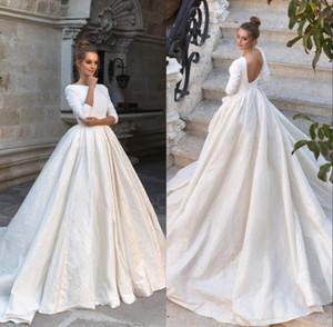 Vestidos baratos de la boda 2020 Nueva raso una línea de manga larga vestido sin espalda vestidos de boda nupcial atractivo