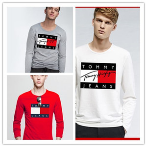 Graffiti mektubu Tops Lüks Moda tasarım baskı adam uzun kollu tişörtleri pamuk Hip-Hop poloshirts tee t shirt erkek giyim için