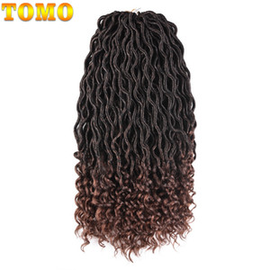 TOMO Hair 20Inch 24Strands / Pack Curly Faux Locs con extremo rizado Ombre Kanekalon Synthetic Deep Faux Locs Crochet Trenzas Trenzado de cabello