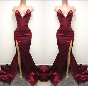 Africano 2018 Borgogna Prom Dresses Sexy Sirena Backless Sweetheart Alta Split Lungo Abiti Da Sera Increspato Celebrity Party Gown