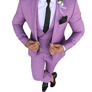 Personnaliser Groomsmen Notch Revel Groom Tuxedos Purple Men Suits Mariage / Prom Meilleur Blazer Homme (Veste + Pantalon + Gilet + Cravate) A126