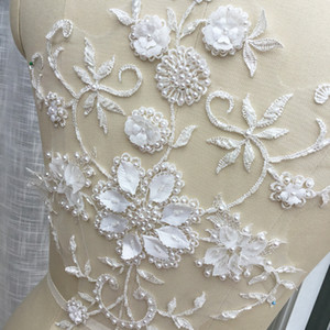 White French flower handmade lace appliques with beads wedding dress design Lace applique SD02