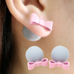 Cute Romantic Bowknot Ball Earrings Simulated Pearl Bow Tie Stud Earring Lovely Multicolor Aretes Double Side Jewelry Women Gift