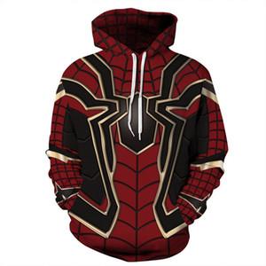 Pullover unisex Athletic Hooded Felpe 3D Digital stampato Felpe Tops Spider Big Pocket Coat tuta sportiva a maniche lunghe Tuta