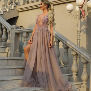 Beaded Plunging Neckline Prom Dresses Embellished Beading Left Leg Slit Prom Gowns Tulle Long Evening Dresses