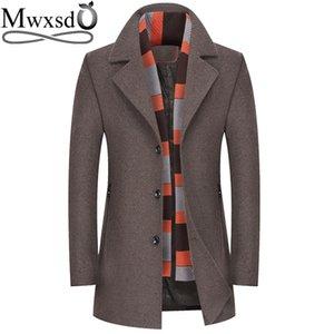 Mwxsd  winter men's wool jackets men slim fit scarf collar Wool & Blends male woolen blend jacket male Wool Coat clothing