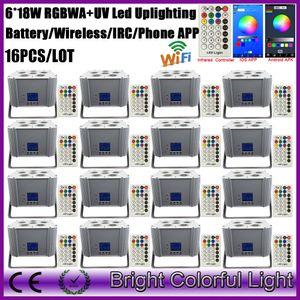16XLOT led uv 무대 조명 파 dmx 무선 wifi 6x18w rgbwauv 6in1 전화 제어 무선 led 배터리 uplighting 판매