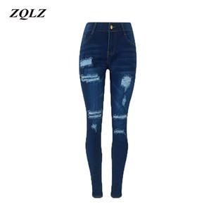 ZQLZ Pantalones Vaqueros Lápiz de Cintura Alta Mujer 2018 Moda Ripped Stretch Skinny Ture Denim Pantalones Femme Casual Mujer Pantalones