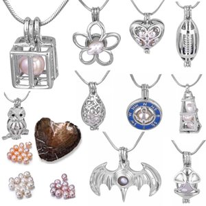Charms 18kgp Wish Gem Beads Locket Cages Fashion Owl / Compass / Deluge Sprinkler / Cuore / Cube / Scrigno del tesoro / Palloncino cuore / Batman / Bijini P012