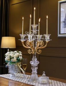 meilleur candélabre cristal or qualité 5 bras porte-bougie cristal K9 pour le centre de la table, dîner aux chandelles, souvenirs de mariage