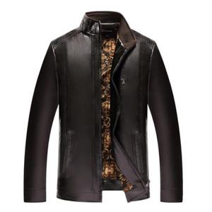 2018 Winter New Middle-aged Men's Jacket Casual Leather Clothing Fashion Men Clothing PU Leather Jacket Plus Velvet Warm Leather