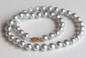 """8-9mm echte natürliche runde südsee grau graue perlenkette 18 """"14 karat gelb @"""